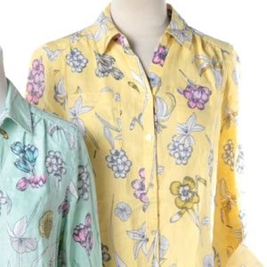 Charter Club 100% Linen 2X Yellow Floral Blouse